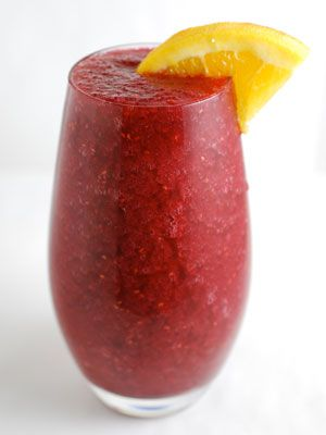 <p>Slushy, fruity, spiked—might as well call it a wine smoothie. Trust us...you're going to want to triple the recipe.</p> <p>3⁄4 cup frozen raspberries (substitute frozen cherries or strawberries)<br /> 1 cup red wine (such as Malbec)<br /> 1⁄4 cup triple sec<br />1 tablespoon sugar<br /> 1 cup ice cubes<br /> Orange or lime slice, for garnish</p> <p>Blend all ingredients until smooth. Garnish and serve.</p>