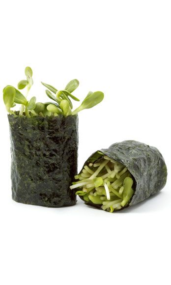 """<p>Dig it: This <a href=""""http://www.cosmopolitan.com/food/katie-lee-fun-delicious-veggie-meal?click=main_sr"""" target=""""_blank"""">refreshing veggie combo</a> is also fat free. Take three sheets of nori seaweed (most grocery stores carry it these days). Along the center of each, arrange a small handful of sprouts, shredded carrots, and lettuce or cabbage. Sprinkle with rice vinegar, roll up, and enjoy! <br /><br /> 30 calories</p>"""
