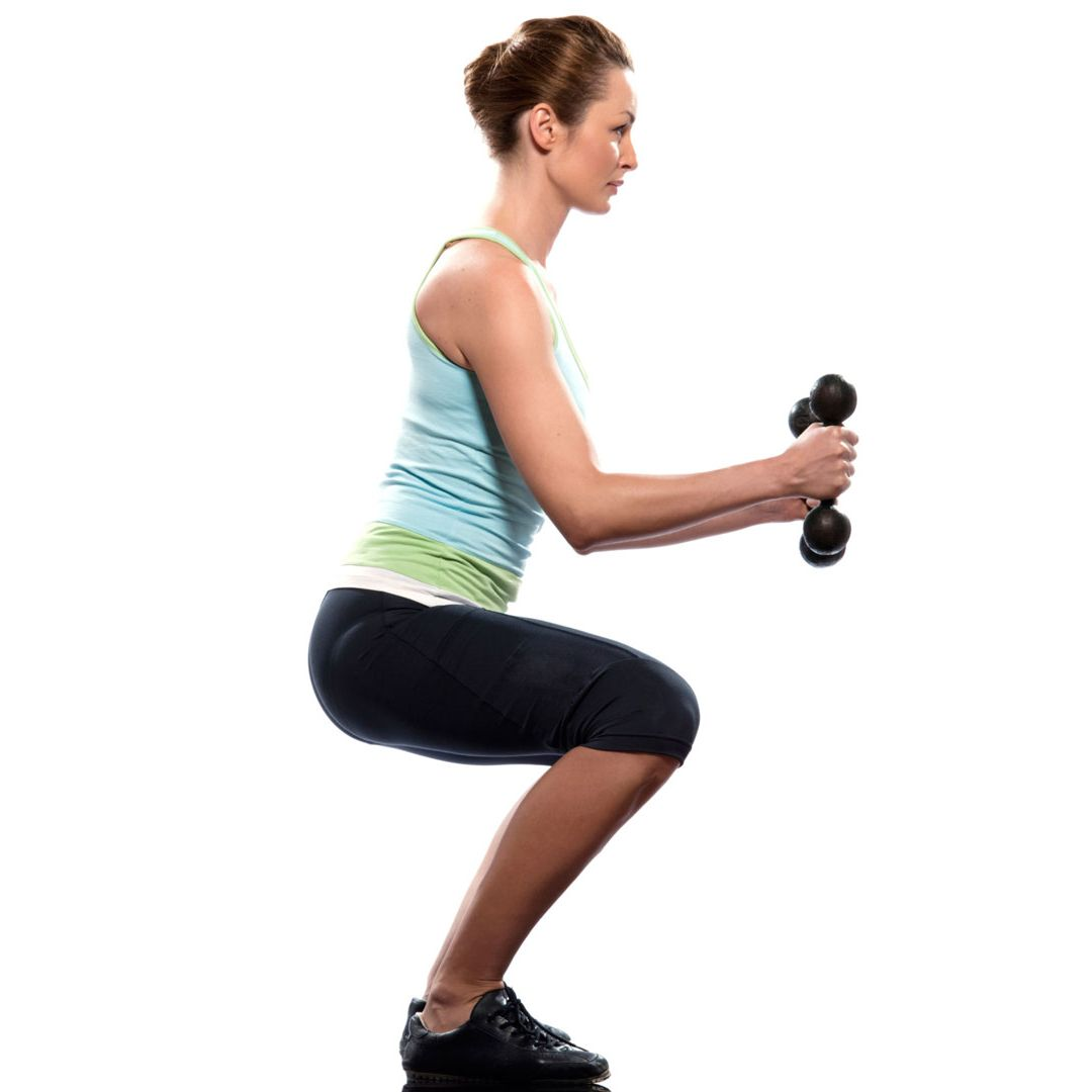 "<p>Bend your knees slightly and hold a pair of dumbbells on the front of <a href=""http://www.cosmopolitan.com/advice/health/inner-thigh-exercises"" target=""_blank"">your thighs</a>, palms face-down. Move your hips back until you feel a good stretch in your hamstrings. Then reverse the motion by contracting your glutes and hamstrings. Extend your hips and stand up, returning to starting position. Your back should be flat, chest up, chin tucked, and shoulders down the entire time. Do three sets of eight to ten reps.</p>
