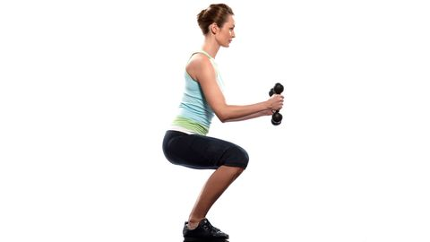 "<p>Bend your knees slightly and hold a pair of dumbbells on the front of <a href=""http://www.cosmopolitan.com/advice/health/inner-thigh-exercises"" target=""_blank"">your thighs</a>, palms face-down. Move your hips back until you feel a good stretch in your hamstrings. Then reverse the motion by contracting your glutes and hamstrings. Extend your hips and stand up, returning to starting position. Your back should be flat, chest up, chin tucked, and shoulders down the entire time. Do three sets of eight to ten reps.</p> <p>Targets: Hamstrings, Glutes & Lower Back</p>"
