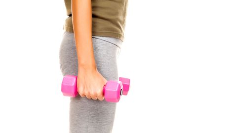 "<p>Grab a pair of dumbbells and stand tall with your chest up and shoulders down. <a href=""http://www.cosmopolitan.com/advice/health/arm-workouts"" target=""_blank"">Your arms</a> should be straight at your sides, palms facing away from you. Keeping your elbows in line with your body, curl the dumbbells up to your shoulders. (Your palms should now be facing you.) Then rotate your palms so they face away again, and press the weights above your head, maintaining a space between your shoulders and ears. Slowly return to starting position by reversing the movement&#151;the dumbbells should take the same path down as they took up. Complete three sets of 10-12 reps.</p> <p>Targets: Biceps & Shoulders</p>"