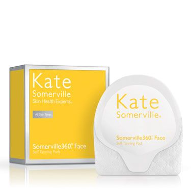 "<p>If you're only looking for color from the neck (and décolletage) up, try Kate Somerville 360° Face Self Tanning Pads, $45, <a title=""kate somerville"" href=""http://www.katesomerville.com/somerville360-face-self-tanning-pads/"" target=""_blank"">katesomerville.com</a>. Each pad contains built-in exfoliators that slough away dead skin as the self-tanner is applied to help eliminate any streaks. Its glove-like applicator also protects your fingers from turning colors. Genius.</p>"