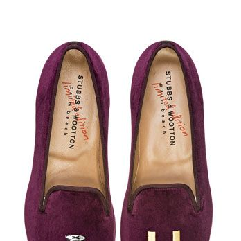 "<p>Stubbs and Wootton, $400, <a href=""http://www.stubbsandwootton.com/index.php/shop-women/slippers/college-burgundy.html"" target=""_blank"">stubbsandwootton.com</a></p>"