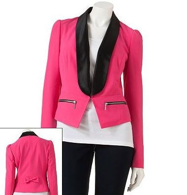"<p>A tuxedo jacket is the perfect update to the boxy boyfriend blazer. Try it in hot pink hue. Wear it to the office with tapered pants or on the weekend with your skinnies.</p> <p>$23.20, <a title=""Kohl's"" href=""http://www.kohls.com/product/prd-1166217/candies-tuxedo-jacket.jsp"" target=""_blank"">Kohl's</a> </p>"