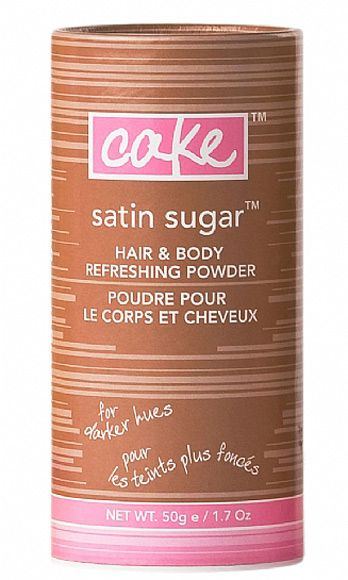 "<p>No time for a proper hair wash? Give our dying 'do instant body, a squeaky-clean finish, and a sweetly sexy, refreshing scent with this velvety powder! It absorbs oils and adds a come-hither texture he won't be able to resist.</p> <p>Cake Satin Sugar Hair Refreshing Powder (comes in Light and Dark), $18, <a href=""http://cakebeauty.com/prodinfo.asp?pid=83"" target=""_blank"">cakebeauty.com</a></p>"