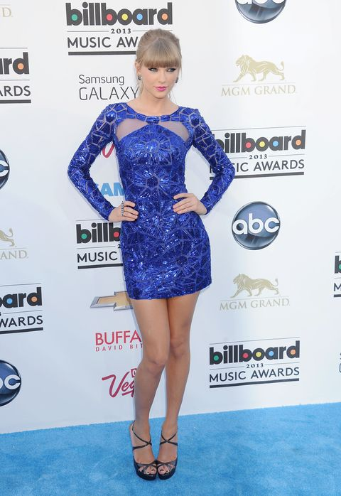 <p>This short blue sequined dress reminded us what we love about Tay Swift—she's got legs for days!</p>