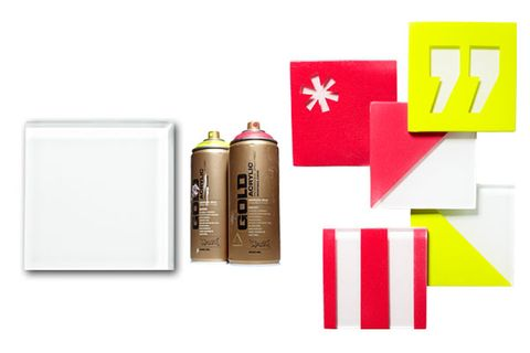 <p>Apply vinyl stickers to a glass tile, then spray-paint the whole tile. Remove stickers after 30 minutes. Use a sponge to apply a thin layer of Mod Podge (prevents chipping).</p><p><strong>Your Toolbox </strong></p><p>• Spray paint<br /> • Painter's tape<br /> • Vinyl stickers<br /> • Mod Podge<br /> • Square glass tiles</p>