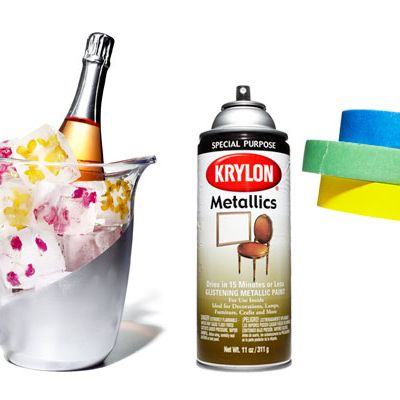 <p>Use painter's tape to separate the area you're decorating. Spray on two coats of paint. Slowly remove tape after 30 minutes. TIP: Apply multiple thin layers for a smoother look.</p>
