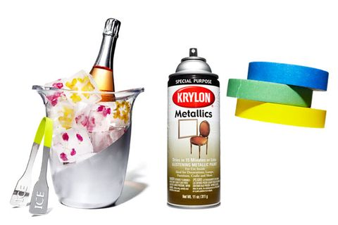 <p>Use painter's tape to separate the area you're decorating. Spray on two coats of paint. Slowly remove tape after 30 minutes. TIP: Apply multiple thin layers for a smoother look.</p><p><strong>Your Toolbox<strong></strong></strong></p><p>• Wine bucket<br /> • Painter's tape<br /> • Spray paint</p>