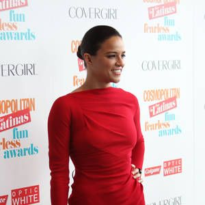 """<p><a href=""""http://www.cosmopolitan.com/cosmo-latina/michelle-rodriguez-cosmo-for-latinas-summer-2013-cover#slide-1"""" target=""""_blank"""">Michelle Rodriguez</a>, our Fun Fearless Latina of the Year, looked stunning in a red long-sleeved dress. </p><p> </p>"""