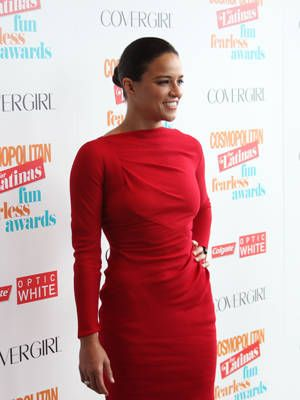 "<p><a href=""http://www.cosmopolitan.com/cosmo-latina/michelle-rodriguez-cosmo-for-latinas-summer-2013-cover#slide-1"" target=""_blank"">Michelle Rodriguez</a>, our Fun Fearless Latina of the Year, looked stunning in a red long-sleeved dress. </p> <p> </p>"