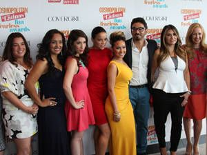<p>From left to right: Magaly Chocano, Erika Andiola, Shirley Diaz, Michelle Rodriguez, Adrienne Bailon, Al Madrigal, Loren Ridinger and Alexandra Wilkis Wilson. </p> <p> </p>