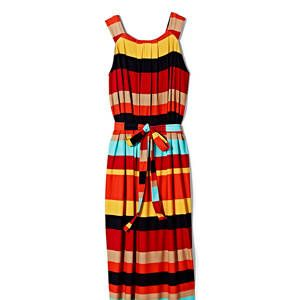 <p>This color-block sundress will take you from the beach to dinner. The tie-belt will define your dress.</p>