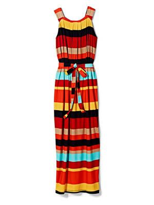<p>This color-block sundress will take you from the beach to dinner. The tie-belt will define your dress.</p> <p>Striped Maxi Dress, $39.99. Available at Marshalls.</p>