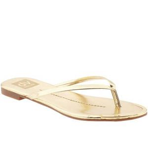 <p>In gold, this flip-flip adds a dose of glam to your swimwear or maxi dress.</p>