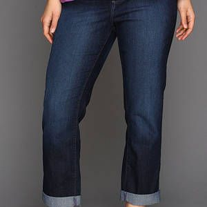 <p>It's important to realize that not all plus sized bodies are the same, but we found a pair of jeans in size 14+ that works great on all body types. A dark denim rinse helps smooth the frame and displays your lady lumps in sexy and stylish way. And this one has some spandex in it—de nada.</p>