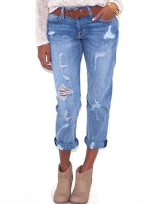 """<p>Some may say the world is your oyster but if you'd like to add some curve to your slim frame, distressing on your jeans can help you get there. When placed near the thighs and hips, it can create the illusion of a more stacked frame.</p> <p>$255, <a href=""""http://www.boutiquetoyou.com/Current_Elliott_The_Boyfriend_Jean_in_Shredded_p/1957-0400.htm?PID=2178999&utm_medium=2178999&utm_source=2178999&utm_campaign=CJ&linkid=10722618"""" target=""""_blank"""">Boutique to You</a></p> <p>Wear it with a boxy tee like <a href=""""http://www.lagarconne.com/store/item.htm?itemid=20126&sid=1178&pid="""" target=""""_blank"""">this one</a> and cute <a href=""""http://shop.mango.com/US/p0/mango/outlet/strap-sandals/?id=63622025_39&n=1&s=outlet_usa_she&ie=0&m=&ts=1370585657564"""" target=""""_blank"""">strappy sandals</a>. </p>"""