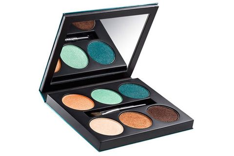 """<p>With its lush teals, bronzes, and corals, this limited edition eyeshadow palette looks like Ibiza in a compact! Rock the shades separately or blended together – and pair with a glam caftan and lots of gold jewelry.</p> <p>Lancome Color Design 6 Pan Palette in Aquatic Elements, $50, <a href=""""http://www.lancome-usa.com/Color-Design-6-Pan-Palette/100804,default,pd.html?dwvar_100804_color=Aquatic%20Essence&start=1&cgid=whatsnew-summer2013"""" target=""""_blank"""">lancome-usa.com</a></p>"""