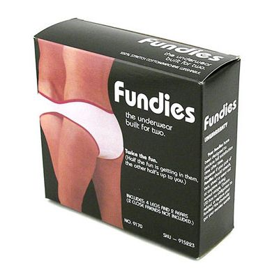 "<p>Two may be better than one…but not when it comes to <a href=""http://www.cosmopolitan.com/celebrity/exclusive/sexy-underwear-commercials?click=main_sr"" target=""_blank"">underwear</a>. Fundies features four sets of leg holes and two rear ends so that you can get closer than you ever even wanted to your man.</p>