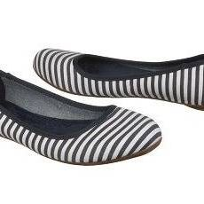 <p>Get nautical this summer with this navy stripe flat. This flat is made by Dr. Scholl's which means you won't have to worry about whether they're comfy or not. Easy enough to carry in your tote and perfect for your warm stroll home.</p>