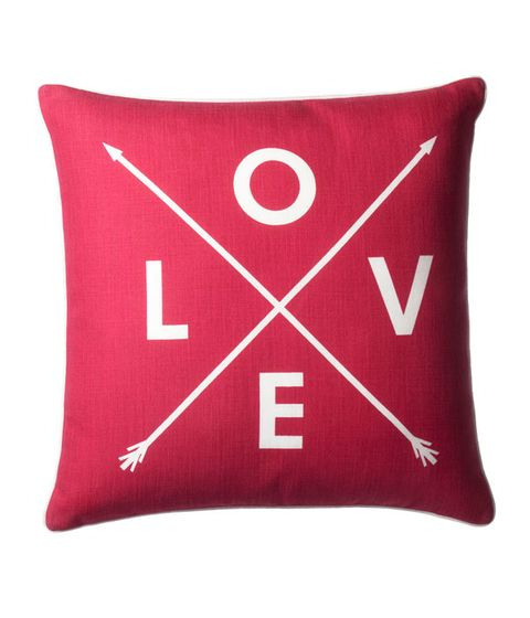 Red, Textile, Cushion, Pillow, Font, Throw pillow, Carmine, Home accessories, Rectangle, Linens,