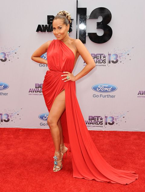 <p>Adrienne killed it in her red gown at the BET Awards and those sick bedazzled shoes! </p> <p> </p>