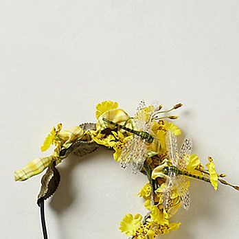 """<p>How could he not notice you, with a cluster of irresistibly cheery, bright yellow flowers strewn throughout your hair? So radiantly pretty.</p><p>Bees Knees Fascinator, $148, <a href=""""http://www.anthropologie.com/anthro/product/accessories-hair/28657799.jsp"""" target=""""_blank"""">anthropologie.com</a></p>"""