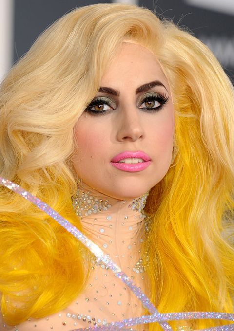 <p>At the 2010 Grammy's, Gaga arrived in orbit – with a 'do dipped in electric lemon dye, bold black eyes, and petal-pink lips. She looked like Skittles.</p>