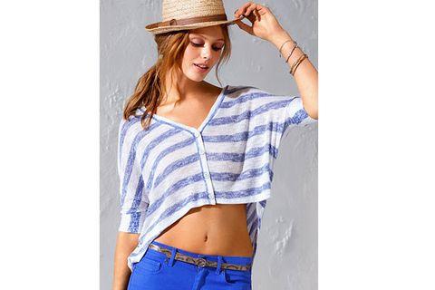 Blue, Skin, Sleeve, Human body, Denim, Shoulder, Elbow, Textile, Hat, Waist,