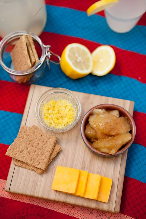 Prep time: 15 min   1 pkg. (8 oz.) CRACKER BARREL Sharp Cheddar Cheese ¾ cup apple pie filling 2 Tbsp. lemon zest 5 graham crackers, broken into 4 pieces each  Preparation: ARRANGE all items on a wooden cutting board or serving platter.   Substitute: To make these more like apple pie, use pie crust instead of graham crackers. Use a biscuit cutter to cut out rounds of premade pie dough. Bake @ 375 for 10 minutes or until they are golden brown.   How to make citrus zest strips: Wash and dry an orange, lemon or lime. Use a vegetable peeler to cut wide strips off of the outermost layer of the peel. Cut the removed peel into narrow strips with a sharp knife.