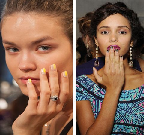"""<p>So many peeps swore that nail art was a thing of the past. Not so fast, Tracy Reese,  Rolando Santana, Siriano ,Santana, and Desigual, all had their models nails decked in dazzling designs. Siriano's was probably our fave though. Not only because yellow with tan looked really hot together, but because we are absolutely terrible with nail art, and could easily recreate this even with our shaky hands. Red Carpet manicure created the look by using their nude color in Fake Bake and then creating a tiny box on the tip of the nails using """"The Perfect Pair"""" a bright yellow.  <br /><br />Nicole Miller's glitter ombre stood out, too, because it was so easy.  Katie Jane Hughes of Butter London began by applying new Nail Lacquer in The 444 . To create a cascading effect she used butter LONDON Nail Lacquer in The Black Knight and applied upward from the tip of the nail. All she did to create the ombre effect was to lightly dabbed the nail lacquer where the two shades met to blend the look. Finally, she reapplied The Black Knight to finish the ombre effect.</p>"""