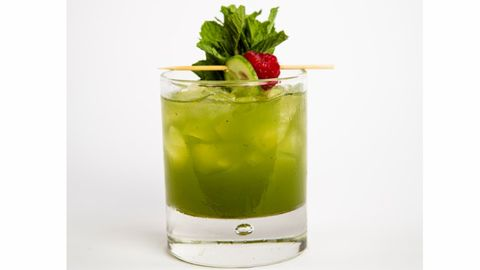 <p>2 oz. Barrymore Pinot Grigio<br />4 Chunks of Cucumber<br />5 Mint Leaves<br />3/4 oz. Lime juice<br />3/4 oz. Simple Syrup<br />1 oz. Soda Water<br /> <br />In a shaker, add cucumber with mint leaves and muddle. Fill shaker with ice then add lime juice, simple syrup, and Barrymore Pinot Grigio. Shake vigorously. Strain over a rocks glass with ice and garnish with 3 mint sprigs and a cucumber slice.</p>