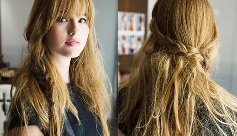 """<p><strong></strong>Even those with butterfingers can recreate  this faux-waterfall braid created by Kattia Solano, hair stylist and owner of NYC's Butterfly Studio Salon. The secret? It's two simple braids combined.</p> <p>1. Spray <a href=""""kerastase-usa.com"""">Kérastase Paris Powder Bluff</a>, $36, all over to create texture. Create a regular braid, starting above your ear on the larger side of your part. Secure with a clear elastic.</p> <p>2. On the other side of your part, braid a section that's two inches behind and two inches above your ear. Secure with a clear elastic.</p> <p>3. Wrap the braid from the larger side around the back of your head, inserting it into the top loops of the other braid. Twist the braids together and secure with a clear elastic. Finish with a blast of flexible hold hairspray.</p>"""