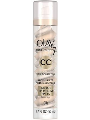 """<p>Not only does this cream offer luminous coverage, it fights aging with serious, skincare-level UV protection.</p> <p>Olay CC Cream Total Effects Tone Correcting Moisturizer in Fair/Light, $24, <a href=""""http://www.pgestore.com/women/facial-skin-care/olay-total-effects/olay-total-effects-7-in-1-tone-correcting-uv-moisturizer-fair-to-light-1.7-oz/075609190339,default,pd.html?cm_mmc=CSE-_-GooglePLA-_-Olay-_-Olay%20CC%20Cream,%20Total%20Effects%20Tone%20Correcting%20Moisturizer%20with%20Sunscreen,%20Fair%20to%20Light%2017%20fl%20oz&ci_src=17588969&ci_sku=075609190339"""" target=""""_blank"""">pgestore.com</a></p>"""
