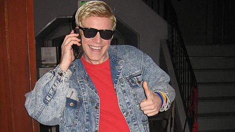 10 different people all trying one great idea: 90s heart throb ZACK MORRIS. Acid wash jeans, a 'preppy' shirt, gigantic phone & poofy blonde hair.<p>But really: zack morris is too beautiful for an introduction
