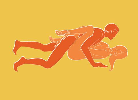<p>Lie flat on your back and bring your knees up to your chest. Wrap your feet around his back for a tighter fit or leave them spread for more room.</p>