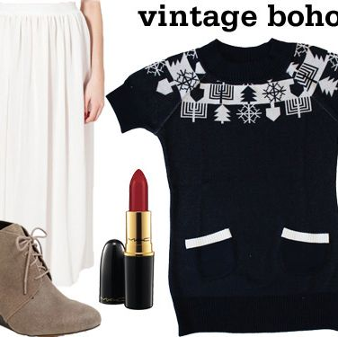 "<p>Don't worry—Hanukah sweaters can be ugly, too! Pair a retro-inspired fit with a flowing midi skirt, suede booties, and your fave <a href=""http://www.seventeen.com/beauty/tips/how-to-wear-red-lipstick""target=""_self"">red lipstick</a> for a cool, '60s vibe.</p>
