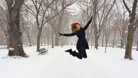 Winter, Photograph, Freezing, Snow, People in nature, Jacket, Knee, Street fashion, Playing in the snow, Active pants,
