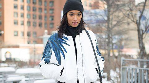 Winter, Cap, Sleeve, Textile, Jacket, Street fashion, Headgear, Fashion, Beanie, Fur,