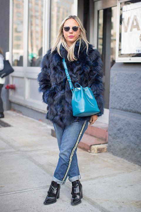 Clothing, Shoulder, Textile, Outerwear, Winter, Style, Street fashion, Sunglasses, Bag, Fashion,