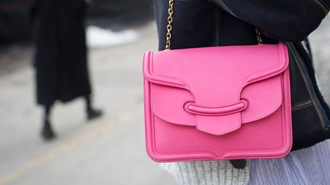 Product, Textile, Bag, Style, Shoulder bag, Magenta, Fashion, Luggage and bags, Leather, Street fashion,