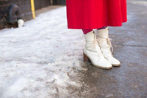 Textile, White, Floor, Carmine, Street fashion, Grey, Fashion design, Boot, Natural material, Silver,