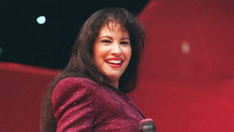 <p>Selena performs at the Houston Astrodome in 1995. </p> <p><em>Photo Credit: AP Images</em></p>