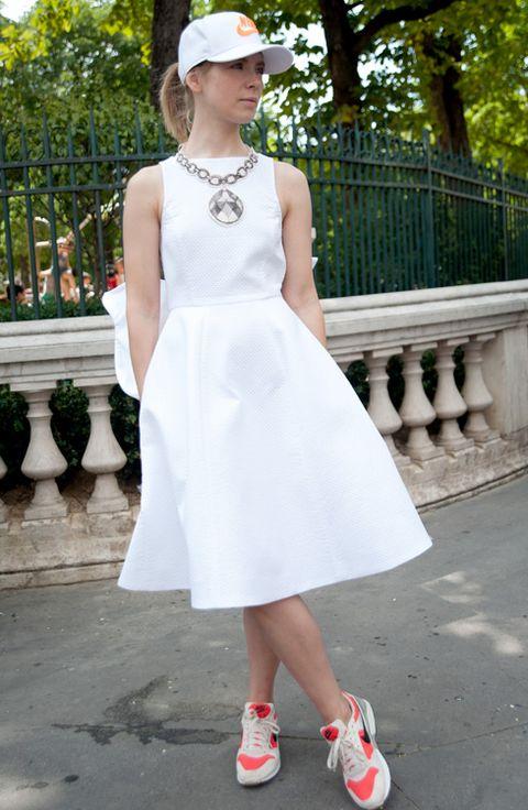 Clothing, Cap, Dress, Sleeve, White, Style, Street fashion, One-piece garment, Fashion, Day dress,