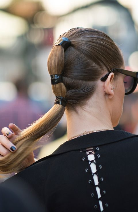 Ear, Hairstyle, Earrings, Style, Fashion accessory, Nail, Back, Long hair, Hair accessory, Gadget,