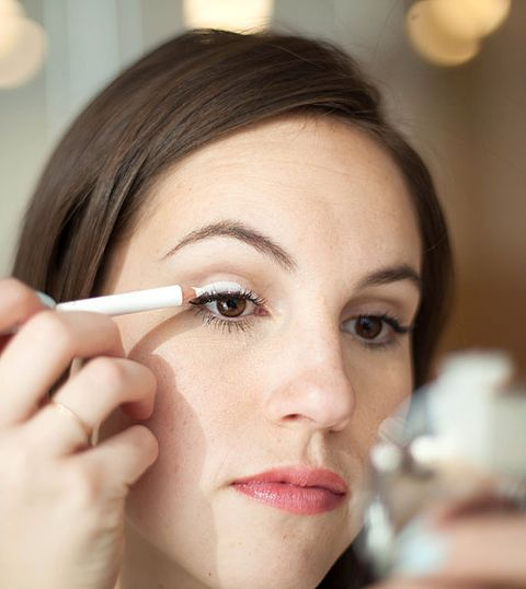 To make a sheer or less pigmented eyeshadow appear more colorful on your eyelid, take a white eyeliner pencil, like Make Up For Ever Kohl Eye Pencil in ...