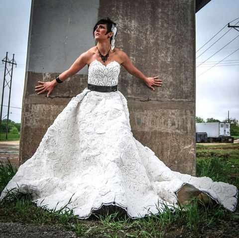Handmade Flowers Multi Layered Skirts Lace All Staples Of Couture Wedding Gowns That A Handful Crafty Women Have Recreated Using Only Toilet Paper