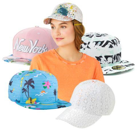 2da6b6df00b017 Clockwise from the top: Paint Splattered Cap, KATE SPADE SATURDAY, $35;  Striped Palm Tree Print Fitted Hat, KENZO, $70; Eyelet Baseball Cap,  J.CREW, $40; ...