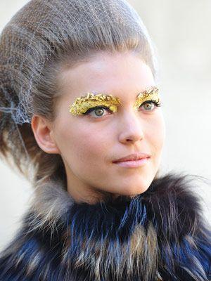 Gold Leaf Makeup At Fendi Show