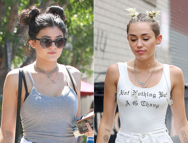 Miley Cyrus And Kylie Jenner Wear The Double Bun Celebrity Hairstyles